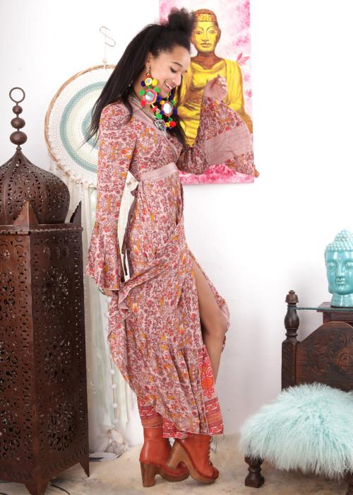 Boho Maxi-Wickelkleid Gypsy Flower nude