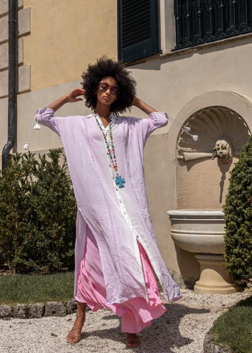 Boho Maxi-Mantel-Kleid Melrose lila