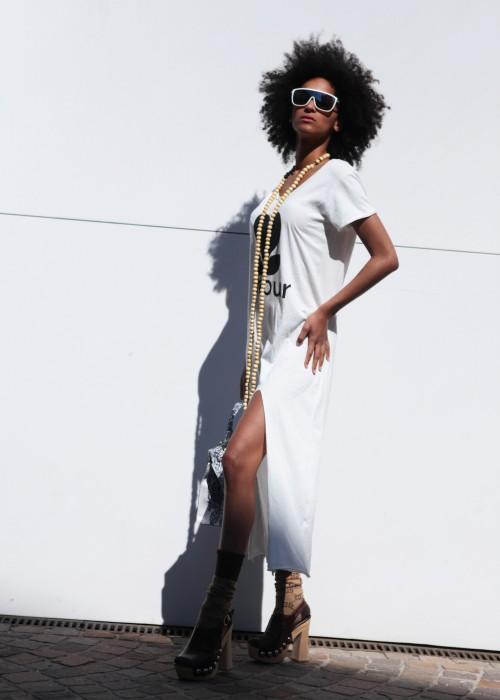 Boho Long Shirt Kleid Amour weiss