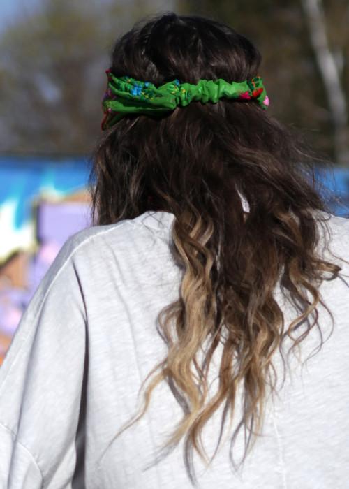 Boho Stirnband Embroidery gruen