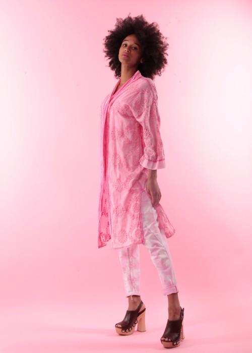 Boho Kimono Mantel Cotton Lace rosa batik