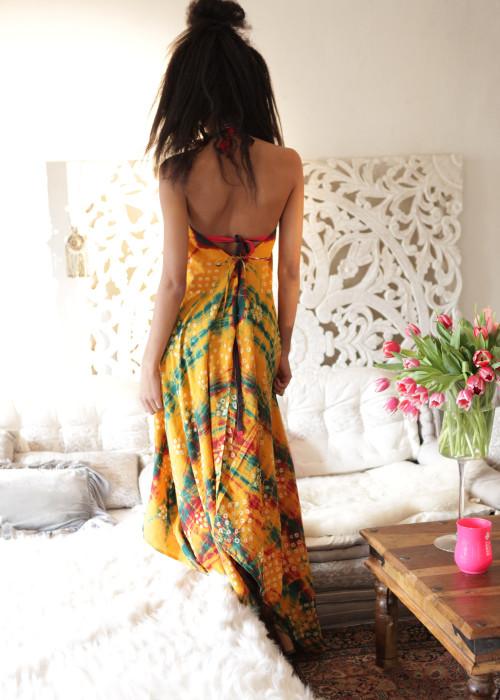 Boho Neckholderkleid Tanee Batik Nr.14 orange-rot-gruen