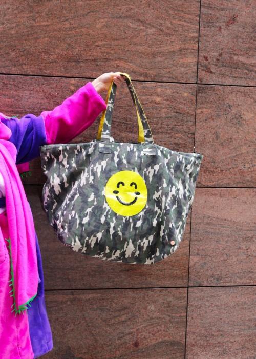 XXL Weekender Tasche Camouflage Smiley gelb
