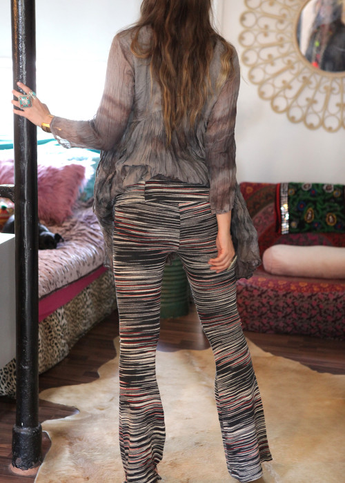 Bohemian Strickhose Seventies schwarz