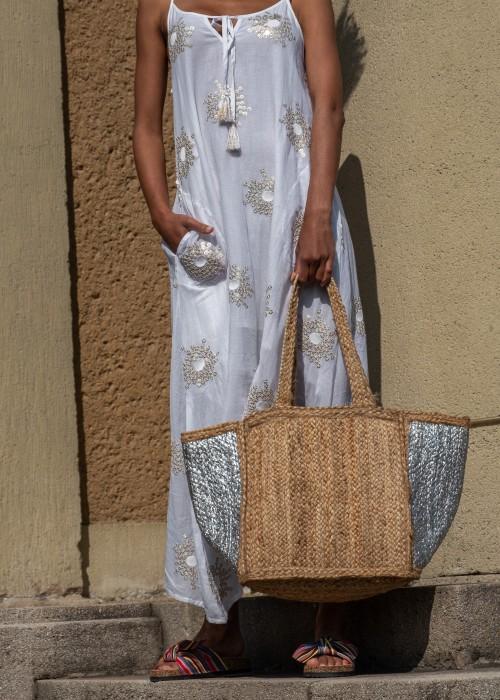 Boho Bag Shopper Tasche Bast silber