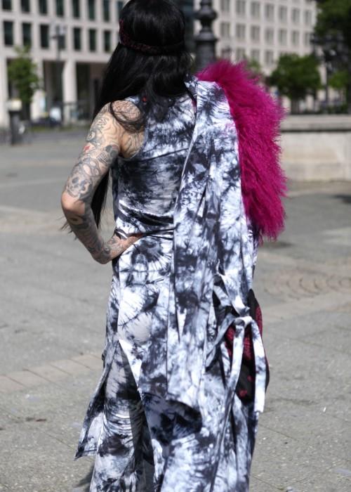 Boho Batik Tunika Kleid schwarz