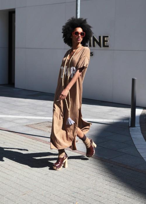 Boho Long Shirt Kleid Blitz braun