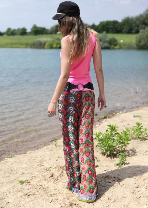 Boho Pants Embroidery lila-rosa