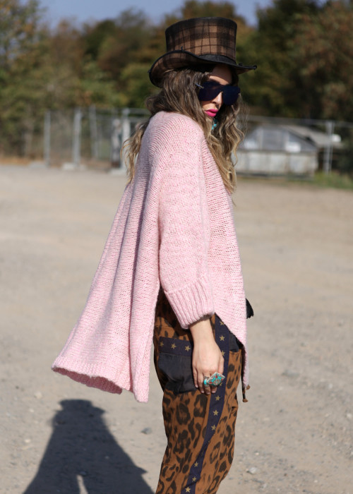 Oversize Pullover Mohair Peace rosa