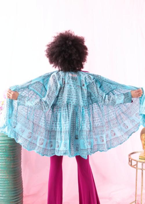 Bohemian Couture Jacke Gebetstuch hellblau