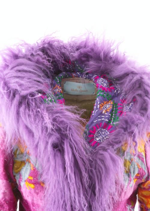 Boho Mantel Amisha Vintage Kapuze lila