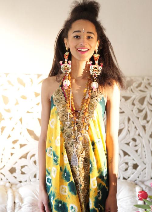 Boho Neckholderkleid Tanee Batik Nr.2 gelb-gruen
