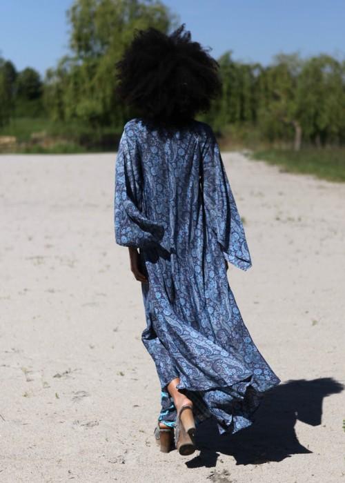 Boho Kaftan Vintage Silk blau