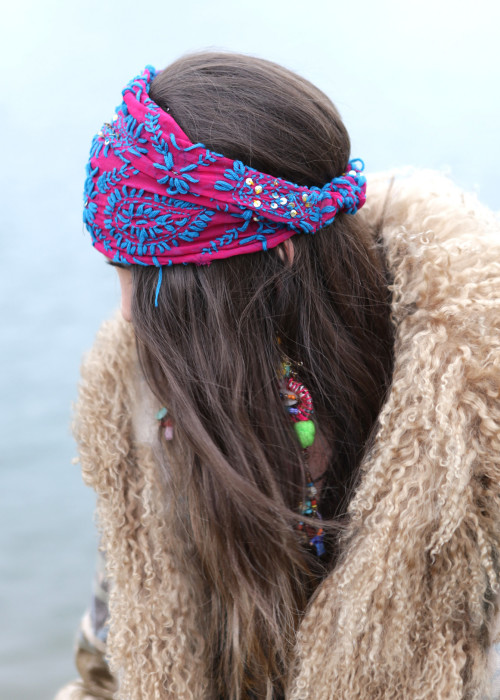 Boho Stirnband Embroidery blue