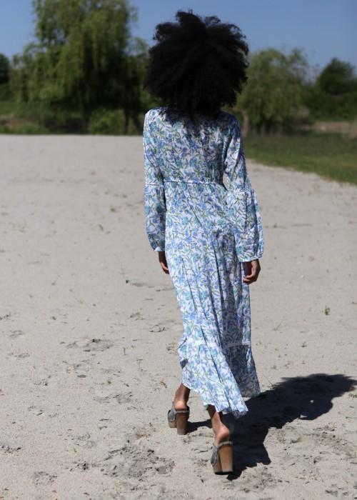 Boho Maxi Kleid Retro Malve blue