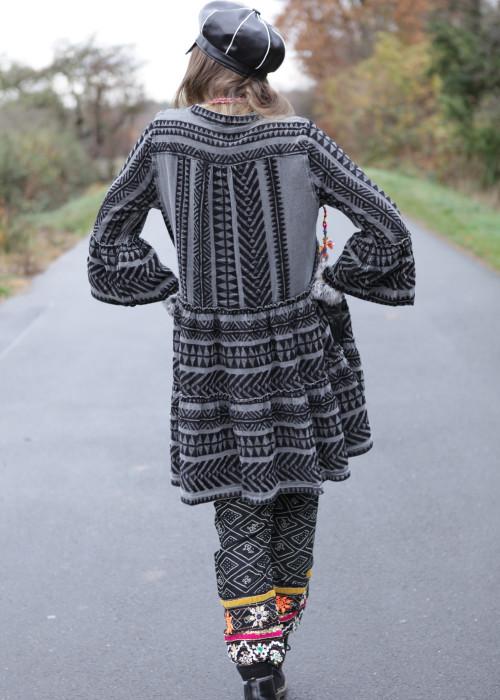 Boho Tunika Kleid Kefiyeh grau-schwarz