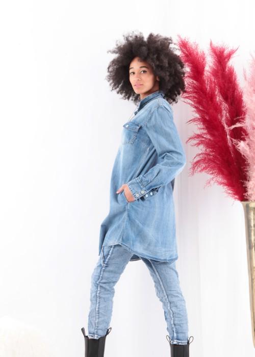 Jeans Hemd long Vintage blau