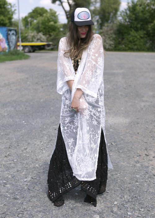 Boho Kimono Fragipani weiss