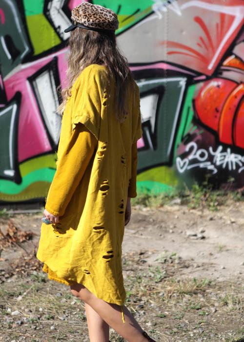 Oversize Sweatshirt Long Destroyed senf