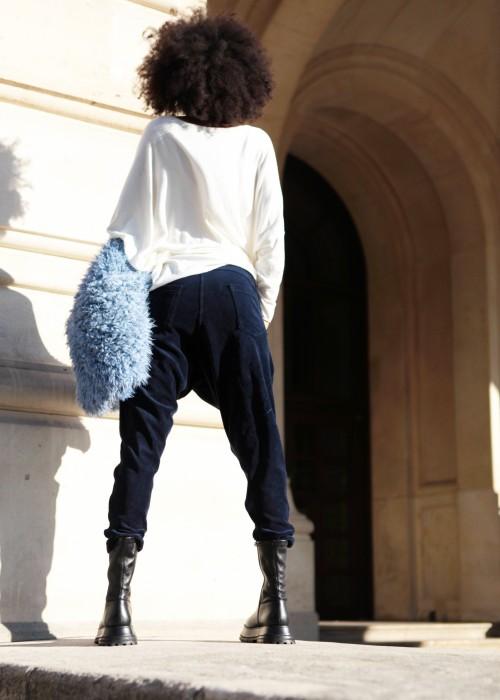 Sarouel Hose Samt blau