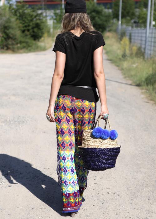 Boho Pants Embroidery lila-caramel