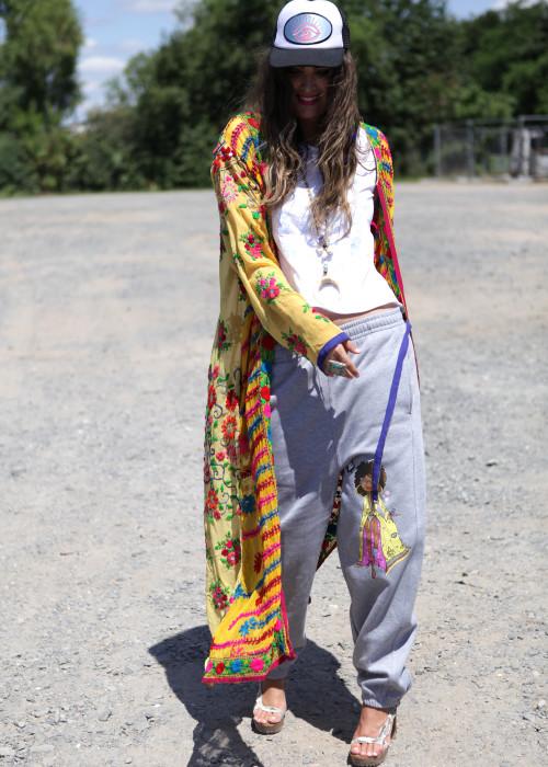 Boho Kimono Mantel Manika Embroidery gelb