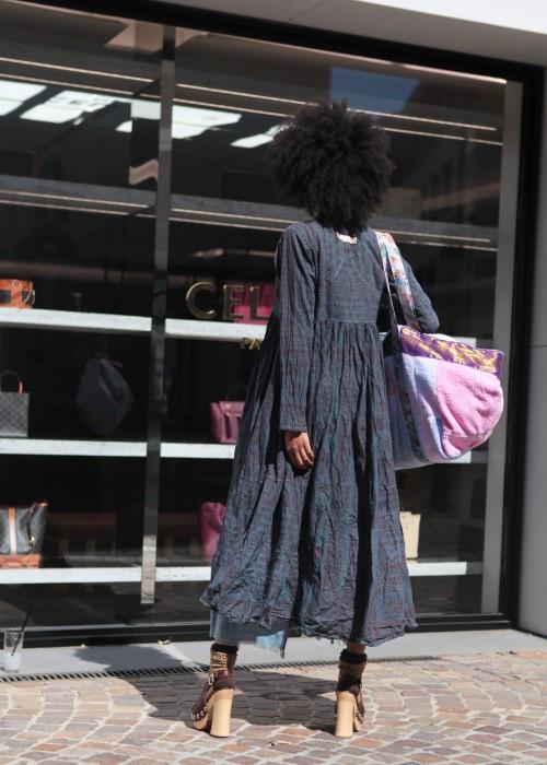 Bohemian Couture Maxi Mantel Gebetstuch grau