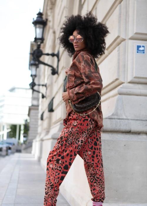 Boho Camouflage Jeans Hemd orange