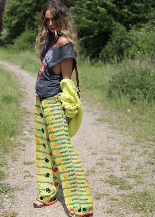 Boho Pants Embroidery gelb