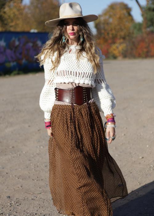 Boho Pullover Crochet weiss