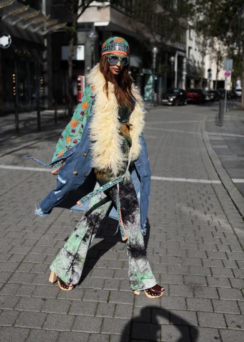 Boho Vintage Jeans Mantel Creme ligh blue