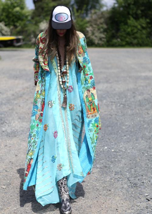 Boho Kimono Mantel Frida Kahlo hellblau-weiss