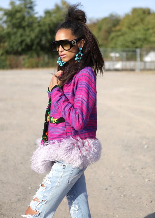 Boho Blazer mit Tibetlamm Stripes pink-flieder