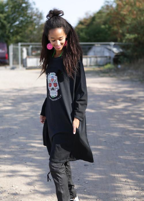 Oversize Sweatshirt Long Skull schwarz