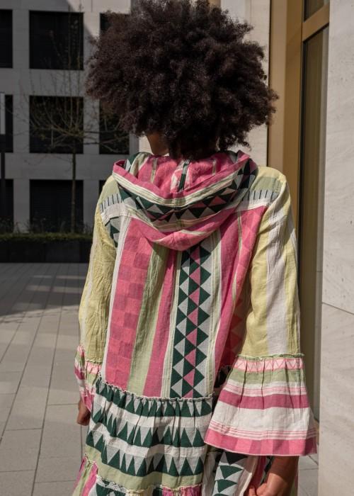 Boho Kapuze Tunika Kleid Ella Ibiza pink