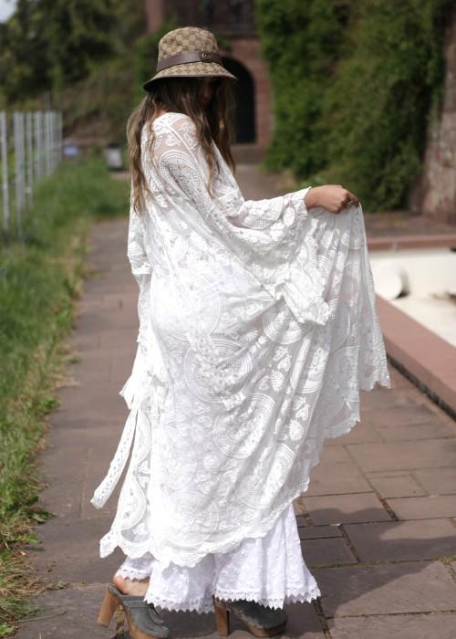 Boho Kimono Lace weiss