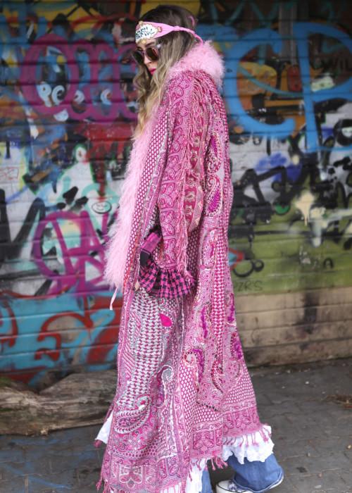 Boho Mantel mit Tibetlamm Paisley rosa