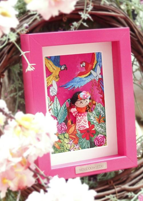 Boho Bild Rahmen Frida Kahlo pink