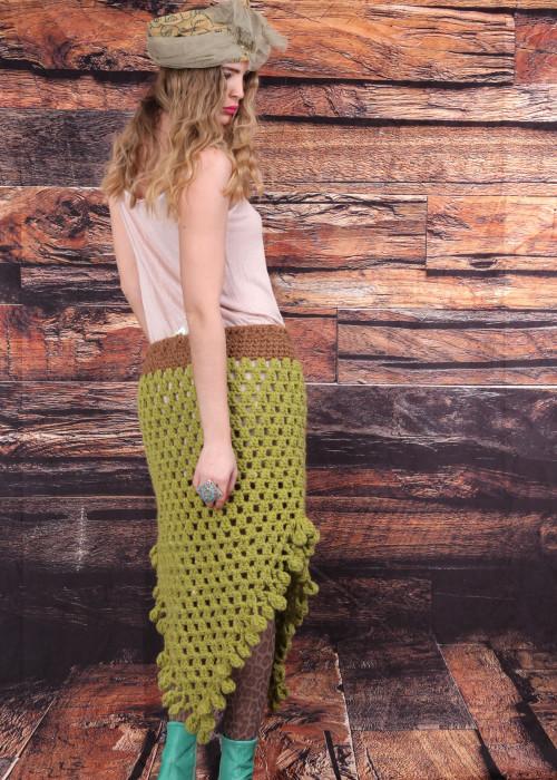 Boho Maxirock Crochet Pompoms gruen