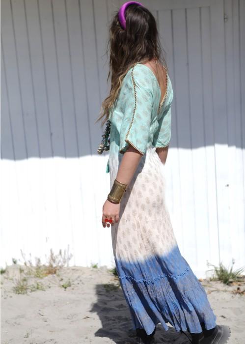 Boho Maxi Kleid Farbverlauf blau mint