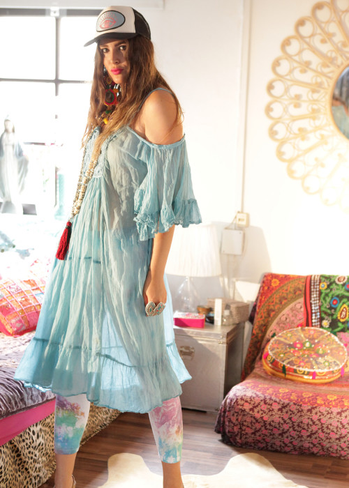 Boho Kleid Renewal Long hellblau