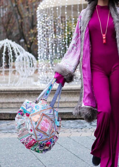 Boho Tasche Sari Vintage hellblau