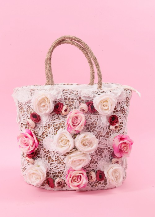 Boho Korb Tasche Rose Lace weiss