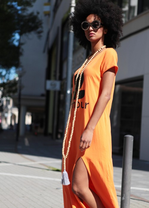 Boho Long Shirt Kleid Amour orange