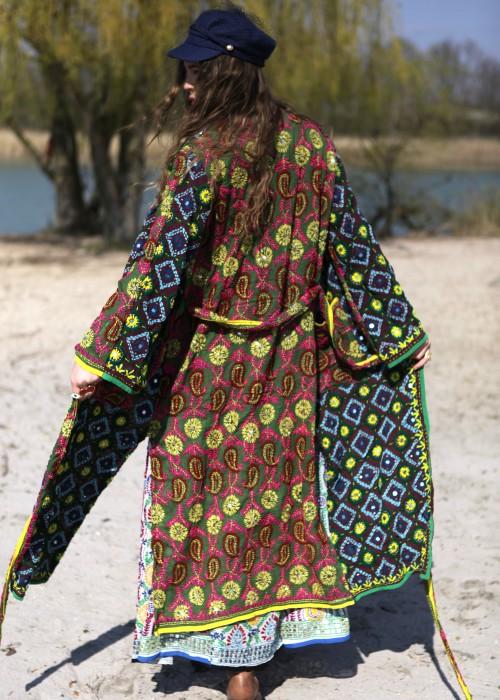 Boho Kimono Mantel Madhu Embroidery braun