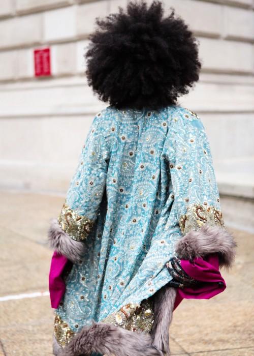 Boho Mantel mit Kunstfell blau-grau