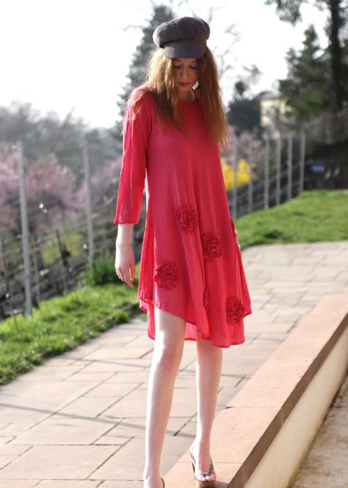 Boho Tunika Kleid Rose rot