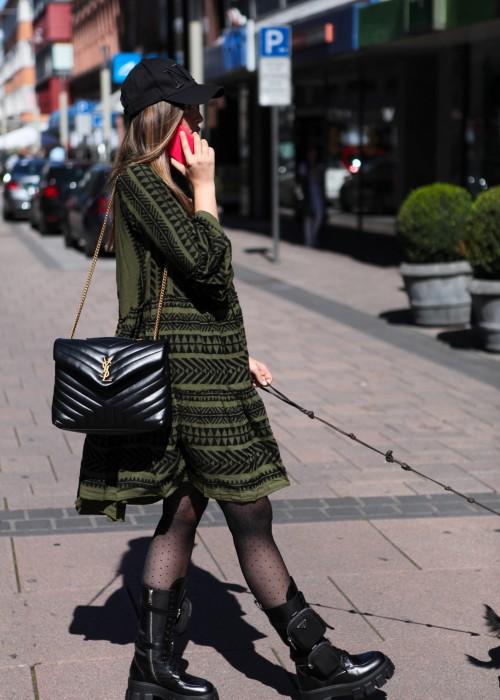Boho Tunika Kleid Ella Midi khaki-schwarz