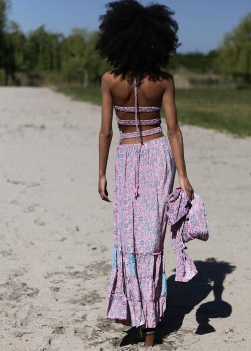 Boho Maxi Kleid Flair rosa