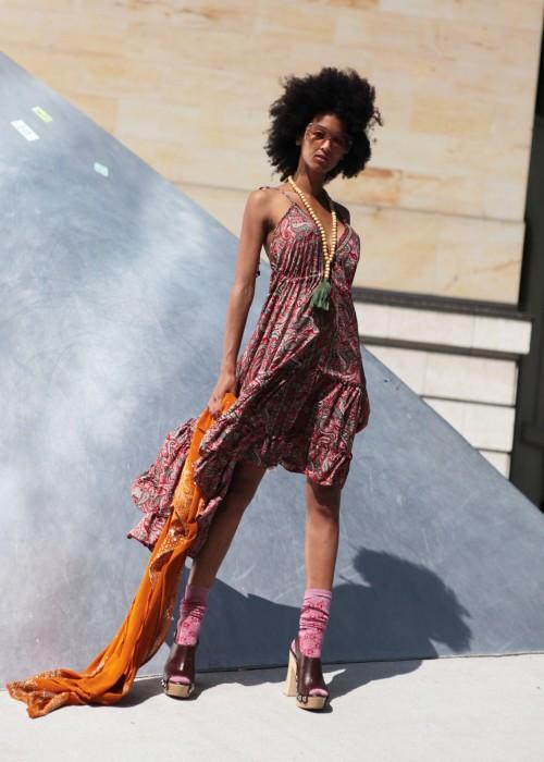 Boho Silk Kleid Paisley braun rot